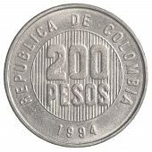 stock photo of pesos  - 200 Colombian pesos coin isolated on white background - JPG