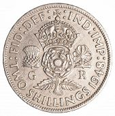 stock photo of shilling  - Two Old British Shillings Coin Isolated On White Background - JPG