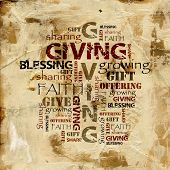 stock photo of blessing  - Words in grunge style on abstract background - JPG