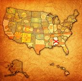 stock photo of alabama  - alabama on old vintage map of usa with state borders - JPG