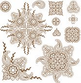 foto of mehndi  - Henna mehndi abstract floral paisley design elements set - JPG