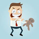pic of voodoo  - cartoon man with voodoo doll - JPG