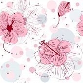 image of hibiscus  - Vector illustration of seamless pattern with hand drawn pink hibiscus flowers - JPG