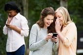 picture of bullying  - Teenage Girl Being Bullied By Text Message On Mobile Phone - JPG