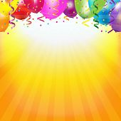 stock photo of helium  - Frame With Colorful Balloons And Sunburst With Gradient Mesh - JPG