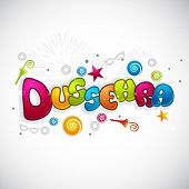 picture of dussehra  - Indian festival Happy Dussehra greeting card with colorful text on grey background - JPG