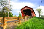 stock photo of covered bridge  - Swartz covered bridge - JPG