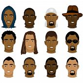 stock photo of mohawk  - Vector Illustration of 12 different Black and Mixed Men Faces - JPG