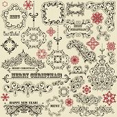 image of std  - vector vintage holiday floral design elements and snowflakes fully editable eps 8 file standard AI fonts - JPG