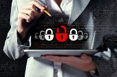 picture of lock  - Businesswoman holding tablet pc entering password - JPG