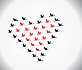 stock photo of geese flying  - Black and red Swans flying or Geese flying or Crane Flying in the shape of heart against a white gradient sky background - JPG