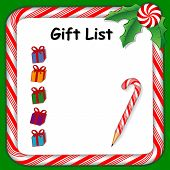 picture of candy cane border  - Christmas holiday gift list on whiteboard with candy cane frame in red and green - JPG