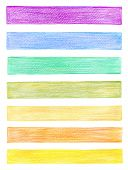 set of color pencil graphic elements
