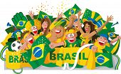 picture of flags world  - Cartoon brazilian soccer fans with national flag - JPG