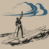 image of raft  - Aborigine on raft floating on ocean waves vector illustration - JPG