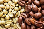 stock photo of coffee crop  - Black and green coffee beans as a background - JPG