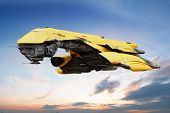 image of starship  - Science fiction scene of a futuristic ship flying through the atmosphere - JPG