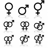 stock photo of gay wedding  - Icon set showing signs for males females and transgendered people and the relationships between them - JPG