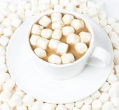 Cup Of Hot Chocolate  With  Many Plump Fluffy Mini Marchmallows On Background, Top View