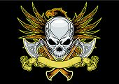 picture of spread wings  - skull and axes with eagle spreading it wings on background - JPG