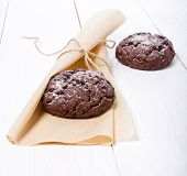 Chocolate Cookies On The White Wooden Background
