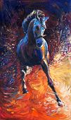 image of breed horse  - Original abstract oil painting of a beautiful blue horse running - JPG