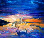 foto of paint horse  - Original abstract oil painting of a beautiful blue horse running - JPG