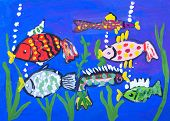 Child's Gouache Picture Of The Sea Bottom