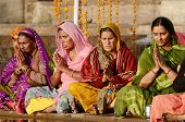 Senior Women Perform Puja - Ritual Ceremony Holy Pushkar lake,India