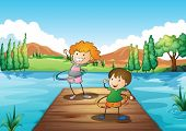 pic of hulahoop  - Illustration of the two kids playing hulahoop at the river - JPG