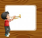 pic of trombone  - Illustration of a boy playing with his trombone in front of an empty template - JPG