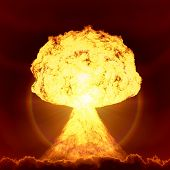 stock photo of fireball  - An image of a nuclear bomb explosion - JPG