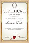 stock photo of wax seal  - Golden Certificate Template with wax seal and laurel wreath - JPG