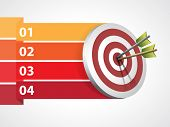 picture of bullseye  - Target with arrows with graphic informations  - JPG