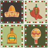 picture of maracas  - set of mexican style frames with sombrero chilli pepper tequila and maraca decorations - JPG