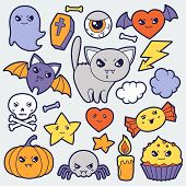 pic of kawaii  - Set of halloween kawaii cute doodles and objects - JPG