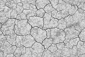 stock photo of grayscale  - dry cracked soil texture and background on dry season  - JPG