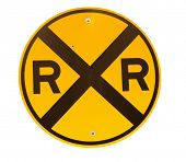 picture of railroad-sign  - Railroad crossing sign isolated on white - JPG