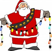 picture of christmas lights  - This illustration depicts Santa Claus holding a string of Christmas lights - JPG