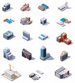 image of isometric  - Isometric factory and office buildings set - JPG