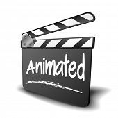 stock photo of clapper board  - detailed illustration of a clapper board with Animated term - JPG