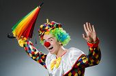 picture of jestering  - Funny clown with colourful umbrella - JPG