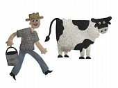 stock photo of milkman  - photograph of a craft confecionado fabric and embroidery of a man and a cow - JPG
