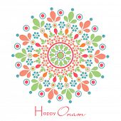 foto of onam festival  - Colorful flower decorated rangoli on white background for South Indian festival Happy Onam celebrations - JPG