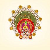 pic of dussehra  - Beautiful face of Goddess Durga with a colorful pearls decorated crown on beige background for Dussehra festival - JPG