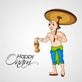 foto of onam festival  - Illustration of Vamana holding traditional pot and umbrella on grey background for South Indian festival Happy Onam celebrations - JPG