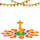 pic of onam festival  - Golden oil lamp on beautiful rangoli decorated background for South Indian festival Happy Onam celebrations - JPG