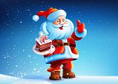 pic of cake stand  - Santa Claus is standing in the snow snow New Year - JPG