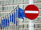 stock photo of no entry  - No entry sign in front of EU government building - JPG
