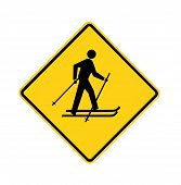 foto of nordic skiing  - Yellow road sign with cross - JPG